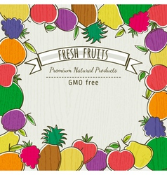 Frame of organic fruits vector