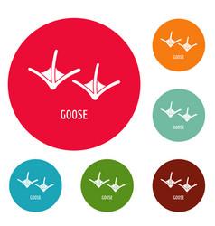 Goose step icons circle set vector