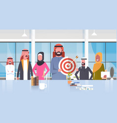 group of arabic business people in modern office vector image