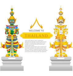 guardian giant thailand travel and art background vector image