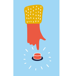 hand press red button on yellow background vector image