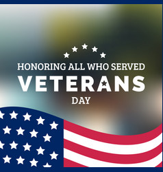 Happy veterans day lettering with usa flag vector