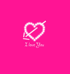 heart of the lamps and arrow on a pink background vector image