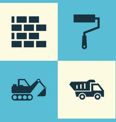 Industry icons set collection of truck paint vector