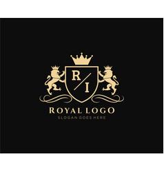 Initial ri letter lion royal luxury heraldiccrest vector