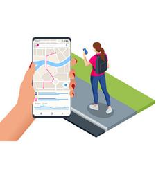 isometric gps navigation concept tourist vector image