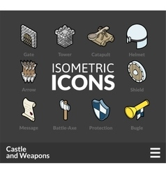 Isometric outline icons set 53 vector