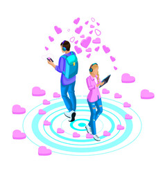 isometry of a girl and a guy are leading love vector image