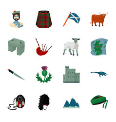 kilt bagpipes thistles are national subjects of vector image