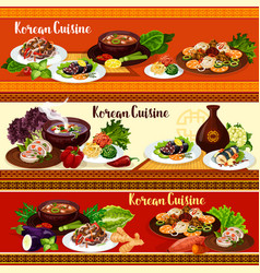 Korean cuisine dishes spicy asian food vector