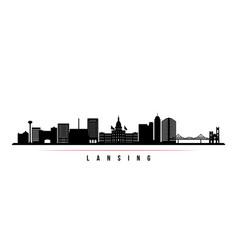 lansing skyline horizontal banner black and white vector image