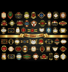 Large collection of colorful gold-framed labels vector