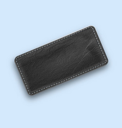 leather black realistic stitched rectangle vector image