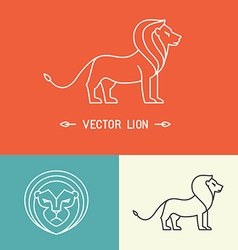 lion logo template in trendy linear style vector image