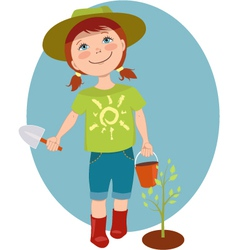 Little girl gardener vector