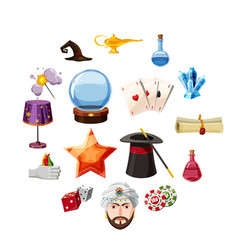 magician icons set items cartoon style vector image