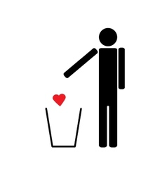 man throws a red heart in the trash vector image