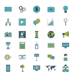 marketing online business set icons vector image