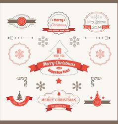 merry christmas festive labels set vector image