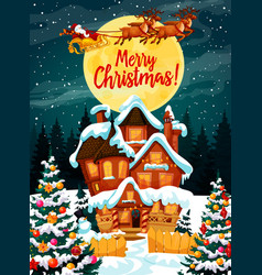 Merry christmas poster with santa claus in harness vector