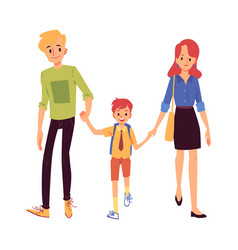 mom and dad or parents lead his son to school flat vector image