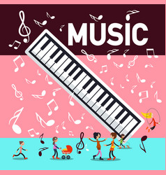 music party background with piano keyboard notes vector image