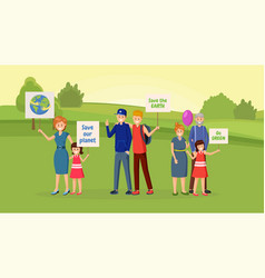 Nature saving protest flat vector
