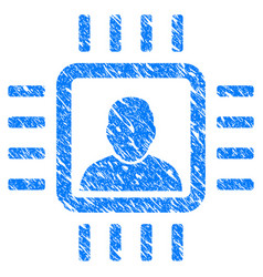 neuro processor grunge icon vector image