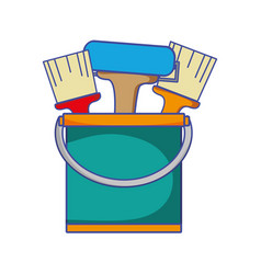 Paint can with painter tools inside vector