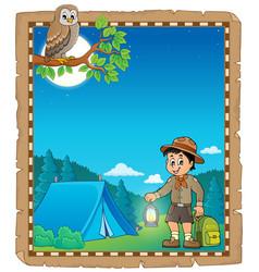 Parchment with scout boy theme 2 vector