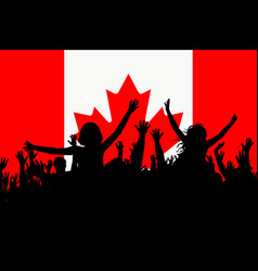 people silhouettes celebrating canada national day vector image