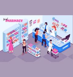 pharmacy isometric indoor background vector image