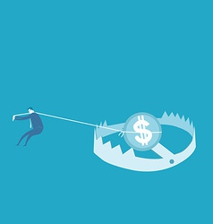 Pick up money in the trap vector
