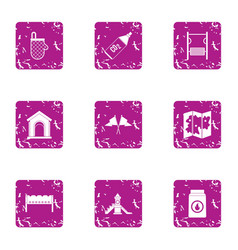 Pitch icons set grunge style vector