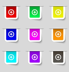 Plus Positive icon sign Set of multicolored modern vector image