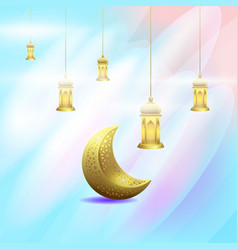 ramadan kareem with moon and lantern background vector image