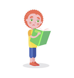 Redhead boy stands and reads book isolated vector