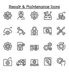 repair maintenance icon set in thin line style vector image