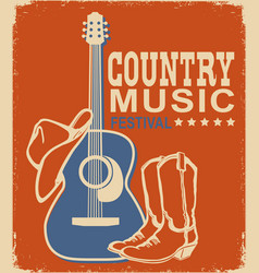 retro country music poster acoustic guitar and vector image
