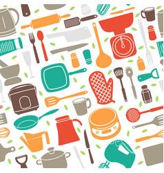 Seamless pattern kitchen utensil in retro style vector