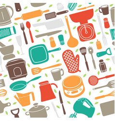 seamless pattern of kitchen utensil in retro style vector image
