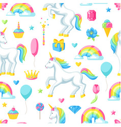seamless pattern with unicorns and fantasy items vector image