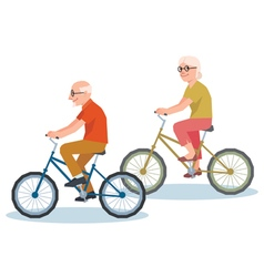 Senior man and a woman riding on a bicycle vector