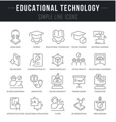 Set line icons educational technology vector