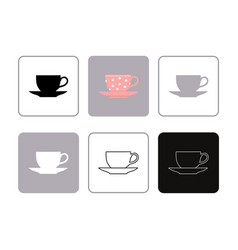 set of icons coffee cup and saucer vector image