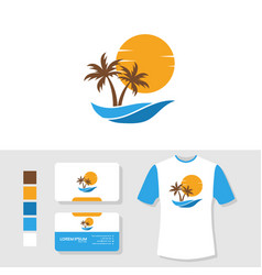 Summer palm tree logo design with business card vector