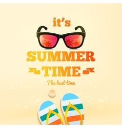 summer poster its time typographic vector image