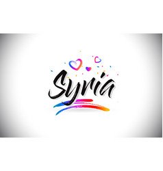 Syria welcome to word text with love hearts and vector