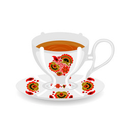 tea cup with khokhloma ornament vector image