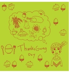 Thanksgiving for kids in doodle vector